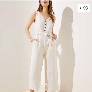 Linen button jumpsuit NWT